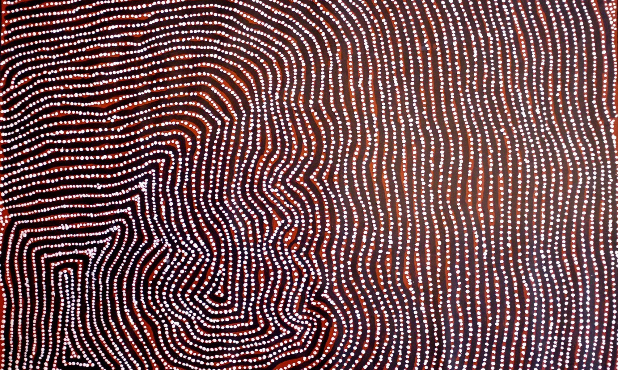 Warlapiringa Tjapaltjari, Tingari Dreaming, 2013, acrylique su rotule, 122 x 98 cm.