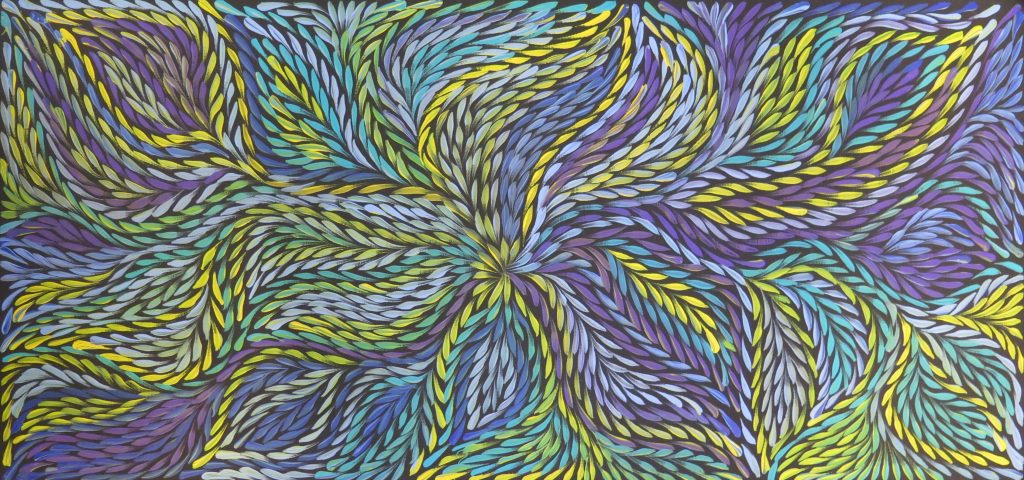 Jeannie Pitjara, Bush Medecine Leaves, 2018, acrylique sur toile, 43 x 91 cm.