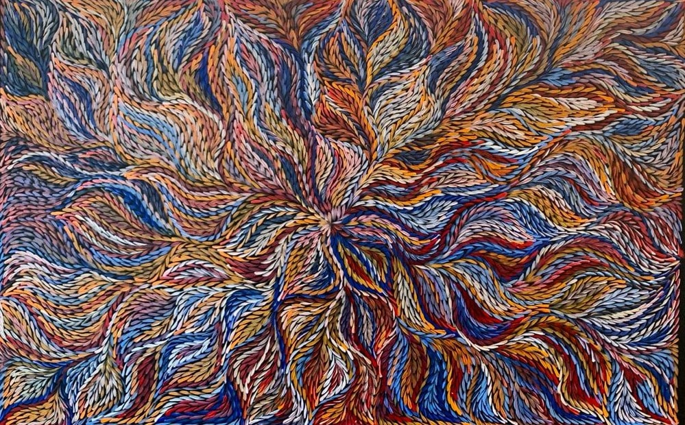 Jeannie Pitjara, Bush Yam Seeds 2018 acrylique sur toile DZ Galerie art Nice