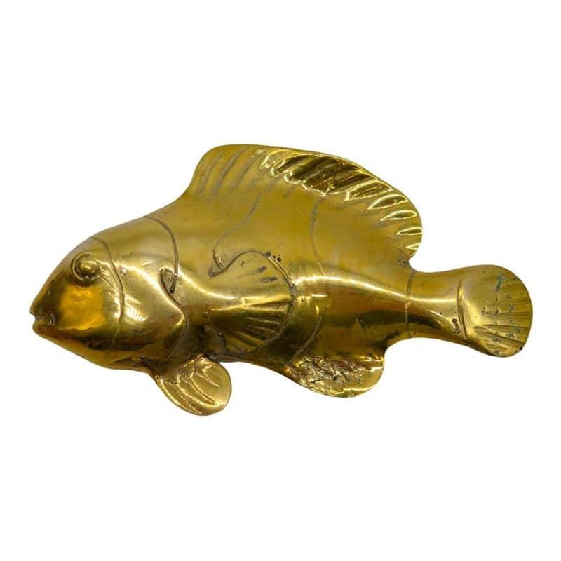 Poisson en bronze doré côté de la sculpture DZ Galerie d'art à Nice