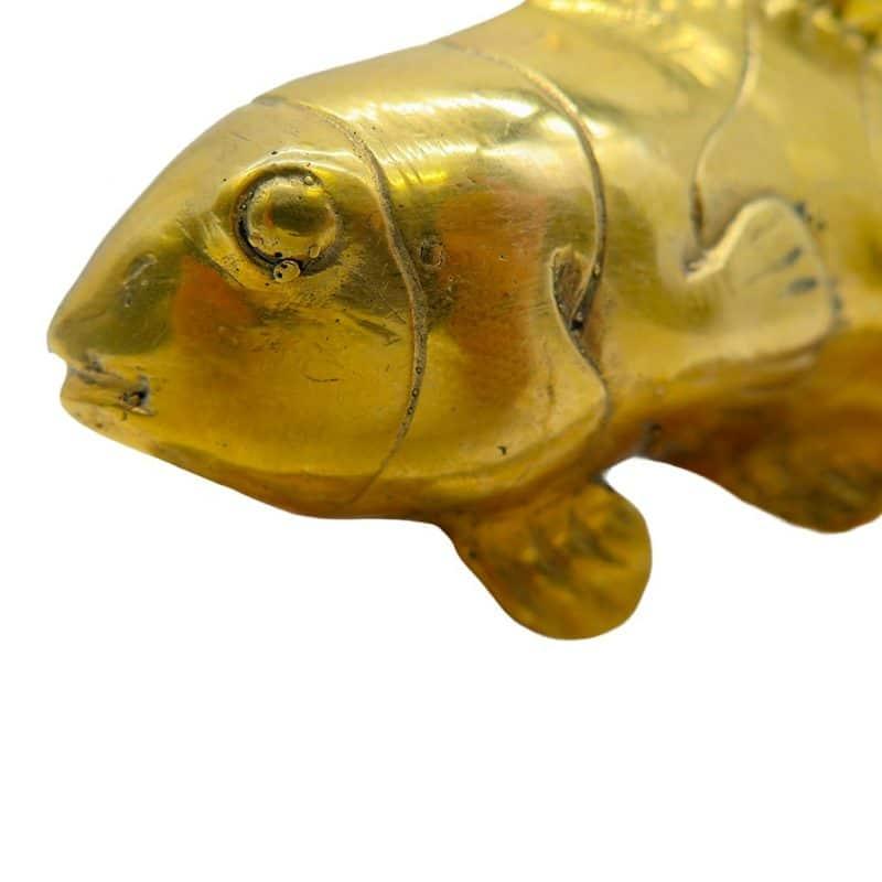 Poisson en bronze doré focus sculpture DZ Galerie d'art à Nice