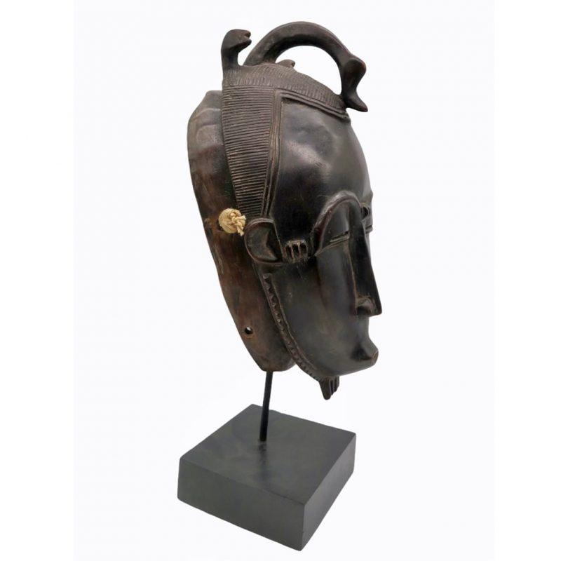 Masque Baoulé brun rouge DZ Galerie d'art à Nice côté