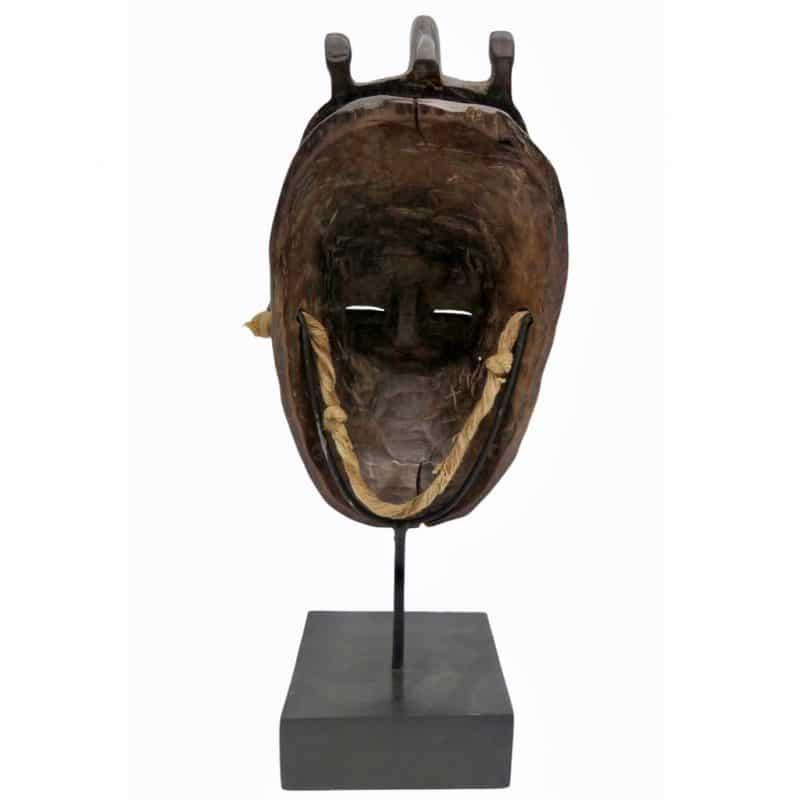 Masque Baoulé brun rouge DZ Galerie d'art à Nice dos