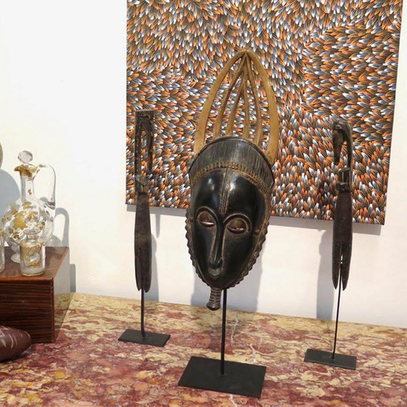 Masque de réjouissance Baoulé sombre DZ Galerie d'art à Nice décoration