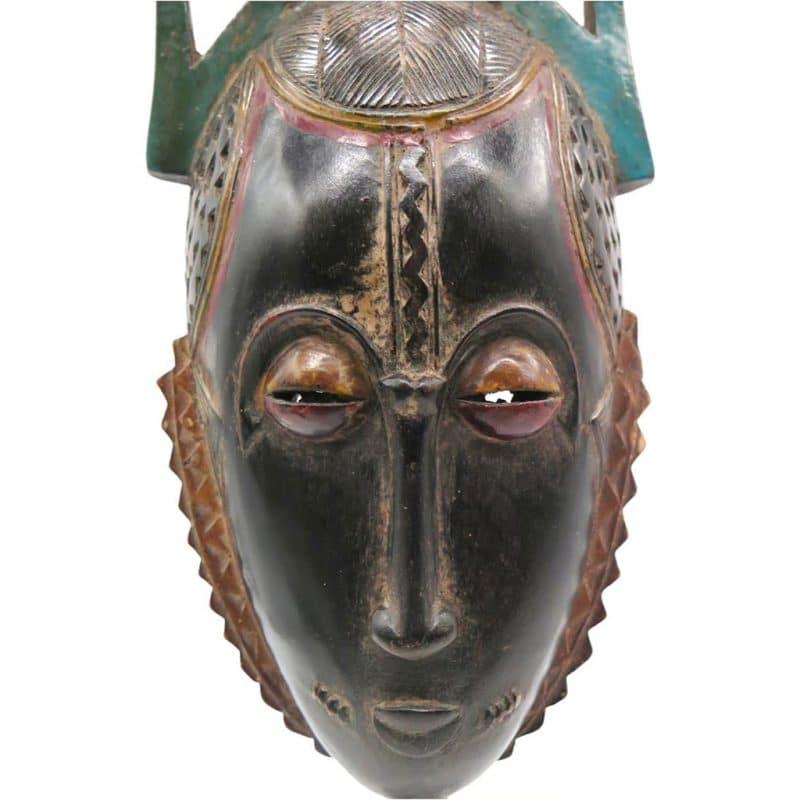 Masque de réjouissance Baoulé noir DZ Galerie Nice focus